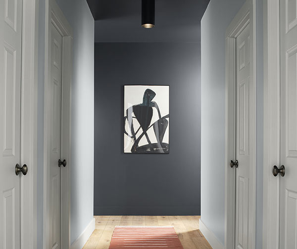Hallway with red rug and a single piece of black and white artwork on back wall, back wall is painted Cyberspace SW 7076