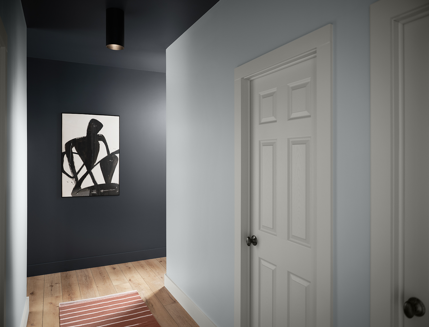 Angled corner view of hallway with red rug, back wall painted Cyberspace SW 7076, single piece of black and white art work on back wall