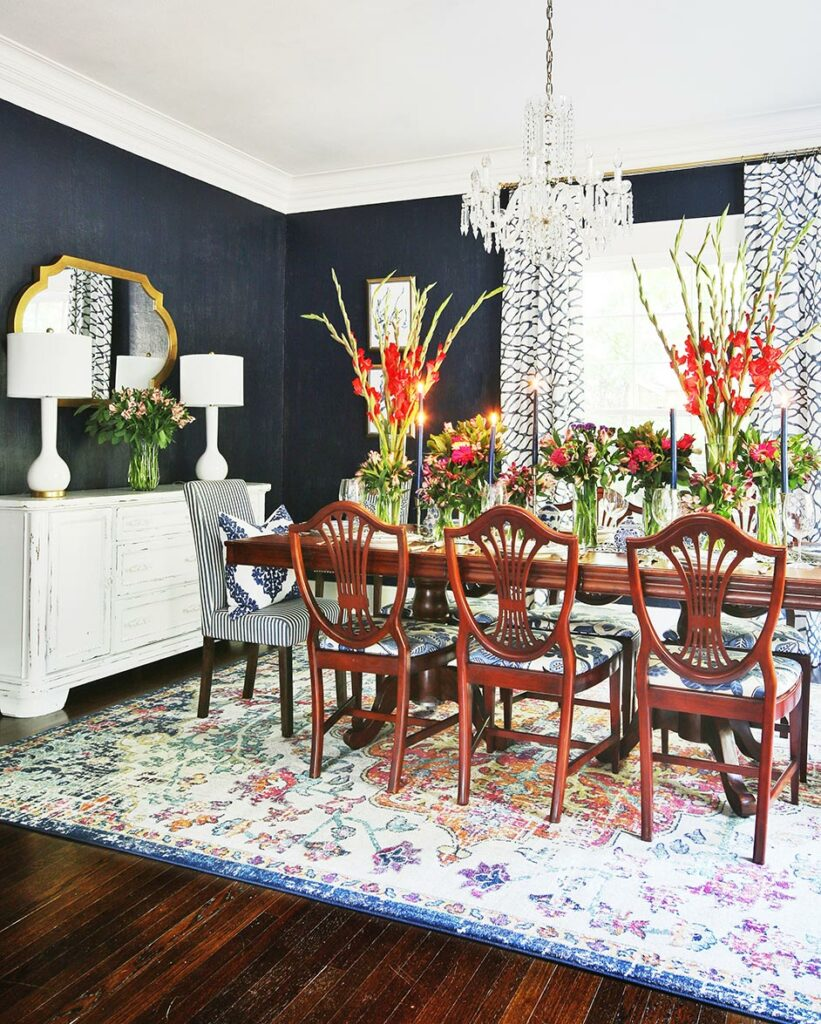 Eclectic dining room painted in Naval SW 6244.