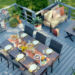 finished deck with barbecue, table and chairs